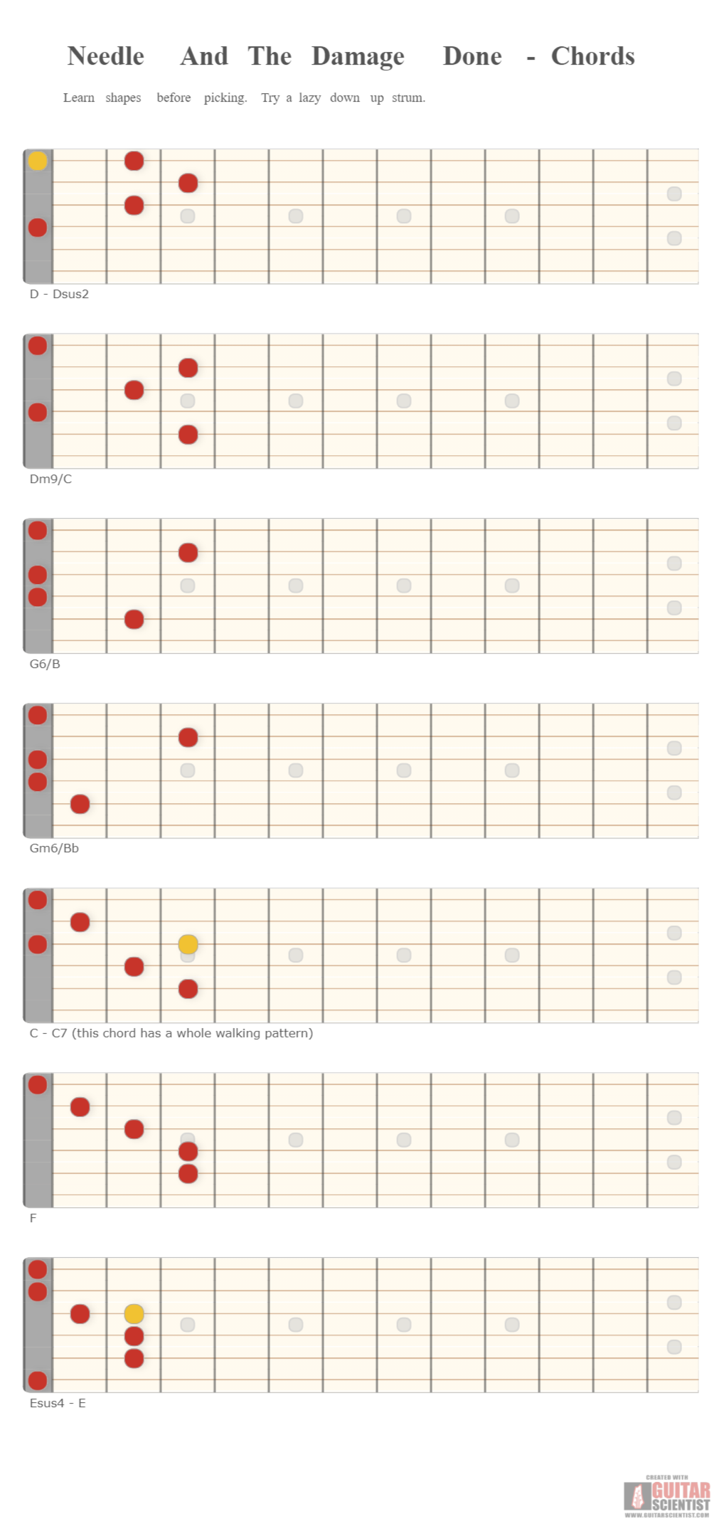 Needle And The Damage Done   Chords